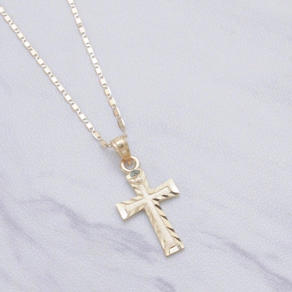 Simple Diamond Cut Cross Necklace