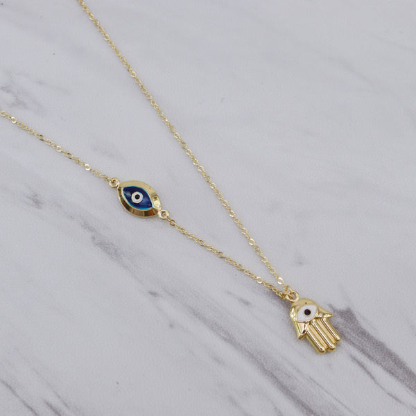 Hamsa with Eye Necklace