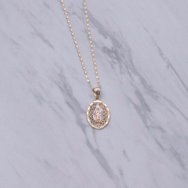 Our Lady Labyrinth Oval Necklace