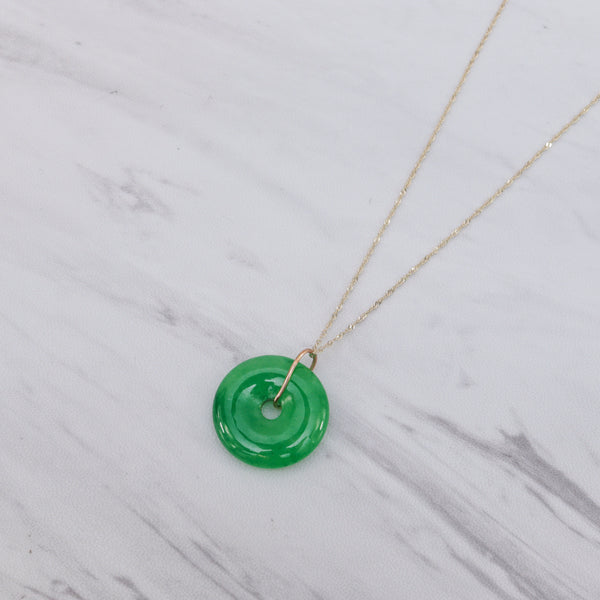 Jade Bi Disc Necklace - Deep Green