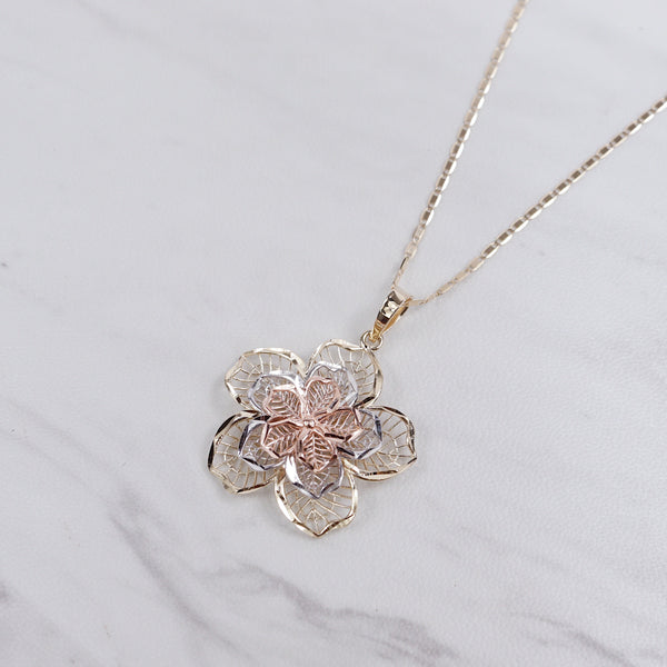 Tri Color Rose Necklace