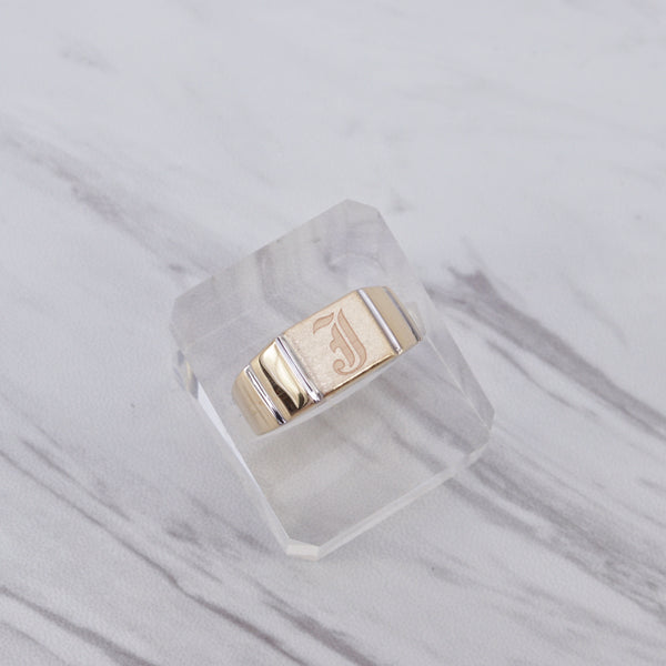 Large Initial Square Signet Ring