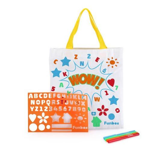 Fun Box Activity - Canvas Tote Bag - With Stencil and Markers