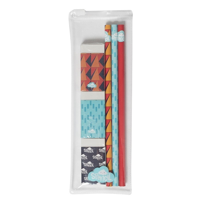 Pencil & Eraser Set 3 Pack - Red