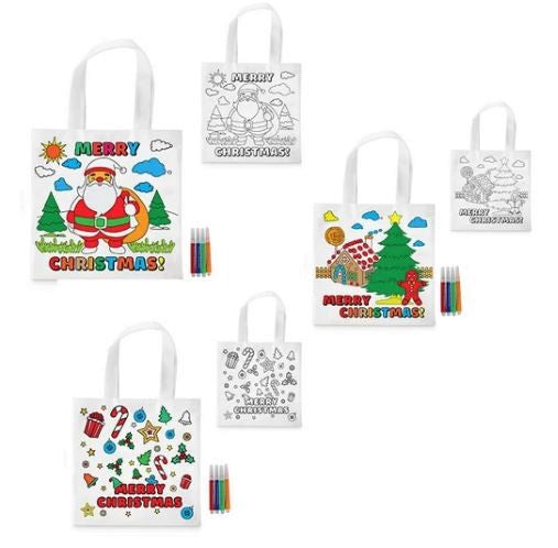 Christmas Themed Colour-In Tote Bag