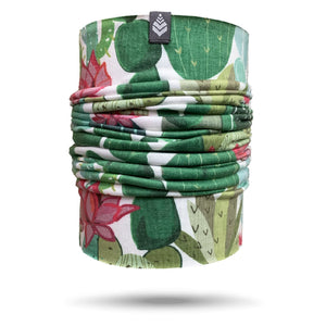 SHREDLY neck gaiter, green cactus with pink flowers