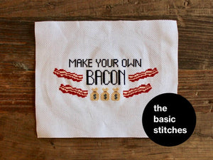 Cross Stitch Pattern - Make your own bacon [bags]