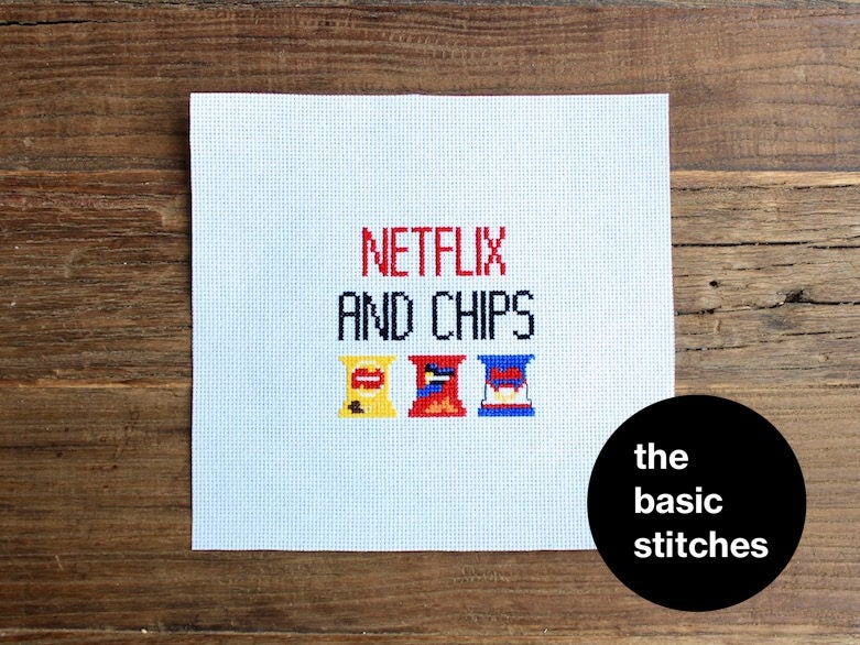Cross Stitch Pattern - Netflix and chips
