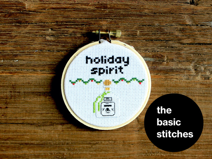 Cross Stitch Pattern - Christmas Ornament - little holiday spirit - tequila