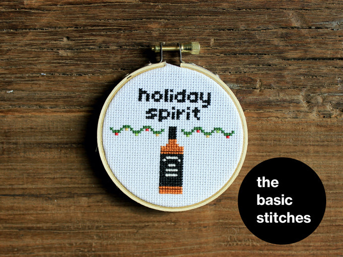 Cross Stitch Pattern - Christmas Ornament - little holiday spirit - whiskey