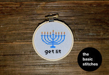Load image into Gallery viewer, Mini Kit - Menorah - Cross Stitch Ornament