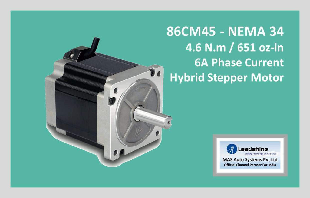 Leadshine Hybrid Stepper Motor CM Series - 86CM45 NEMA 34 - MAS Auto Systems Pvt Ltd
