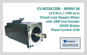 Leadshine Closed Loop Stepper Motor with Encoders & Brakes CS-M234120B NEMA 34 - MAS Auto Systems Pvt Ltd