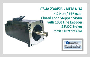 Leadshine Closed Loop Stepper Motor with Encoders & Brakes CS-M23445B NEMA 34 - MAS Auto Systems Pvt Ltd