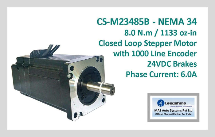 Leadshine Closed Loop Stepper Motor with Encoders & Brakes CS-M23485B NEMA 34