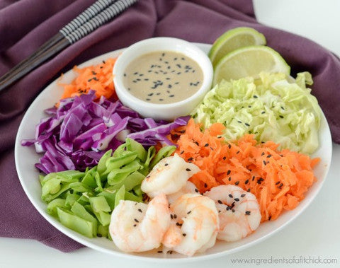 Rainbow Veggie Shrimp Bowl with Almond Butter Dressing