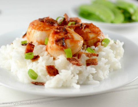 Scallops Recipes - BBQ Scallops & Bacon Over Jasmine Rice - Sizzlefish