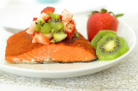 Chili Rubbed Sockeye Salmon with Strawberry Kiwi Salsa