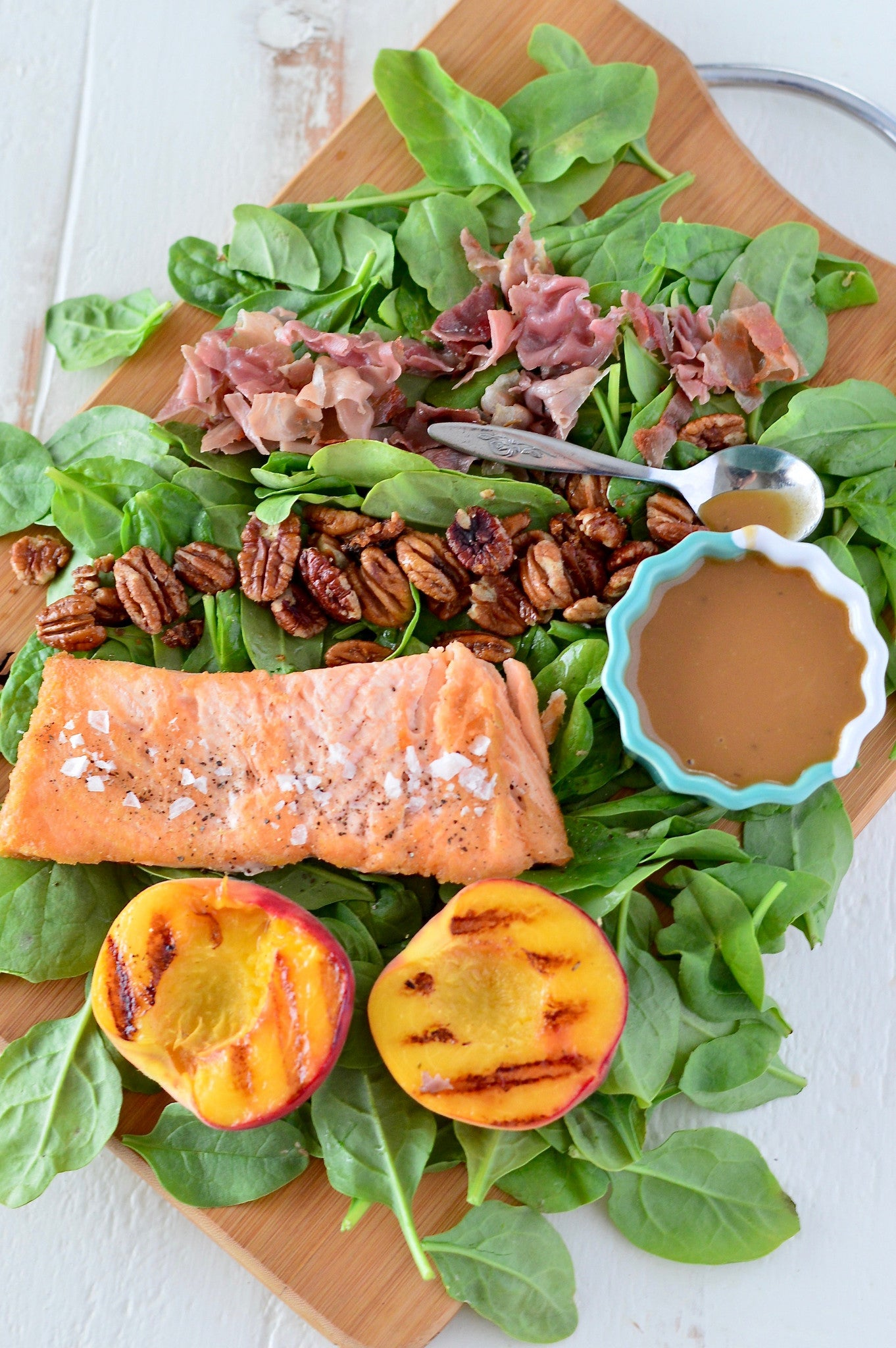 Honey Balsamic Salmon & Grilled Peach Salad with Prosciutto & Candied Pecans