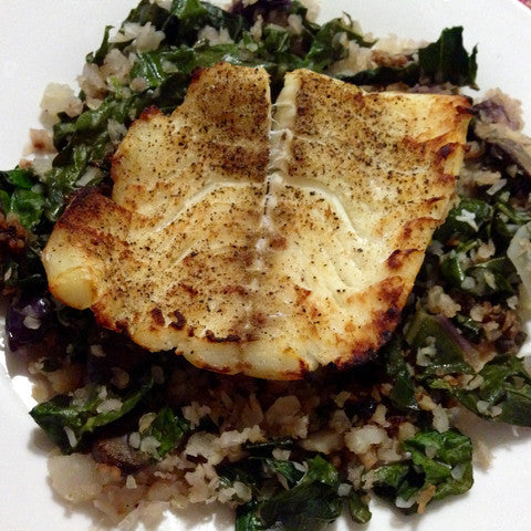 Broiled Haddock and Kohlrabi Rice with Kale Chiffonade