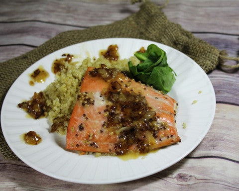 Raspberry Mustard Salmon With Carmelized Onions