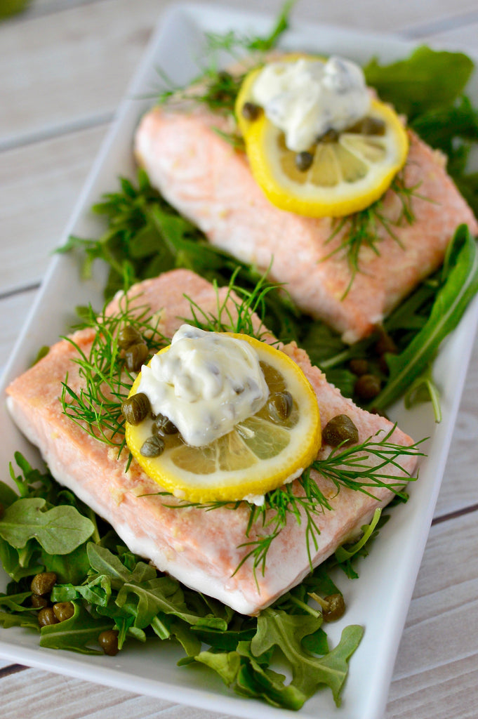 Lemon Dill Baked Salmon with Caper Aioli