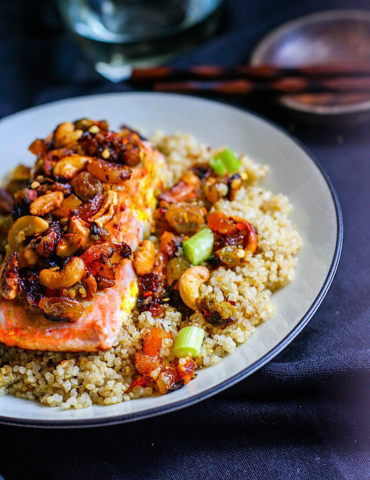 Curried Cashew Salmon and Quinoa