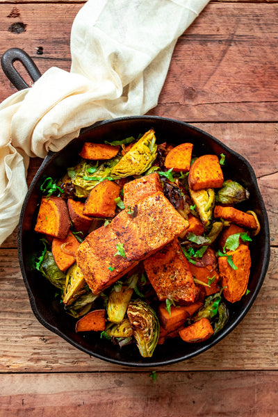 Moroccan Spiced Salmon with Roasted Winter Vegetables