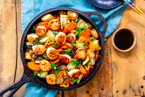 Seared Scallops with Asian Style Roasted Vegetables