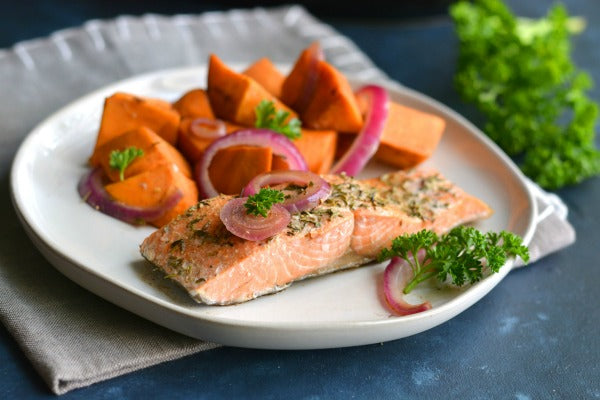 Slow Cooker Balsamic Salmon and Sweet Potatoes