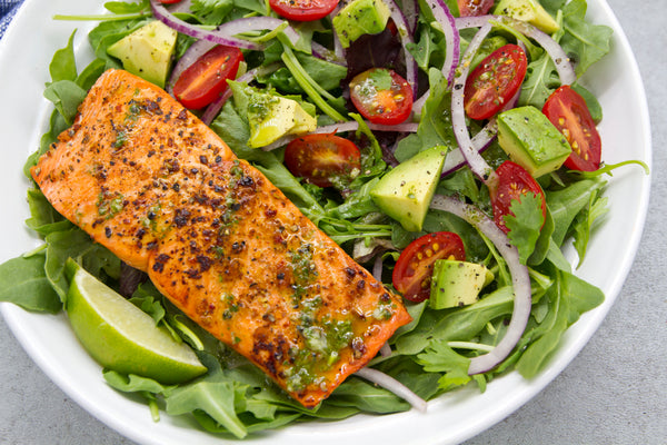 Chipotle Salmon Salad with Cilantro Lime Vinaigrette