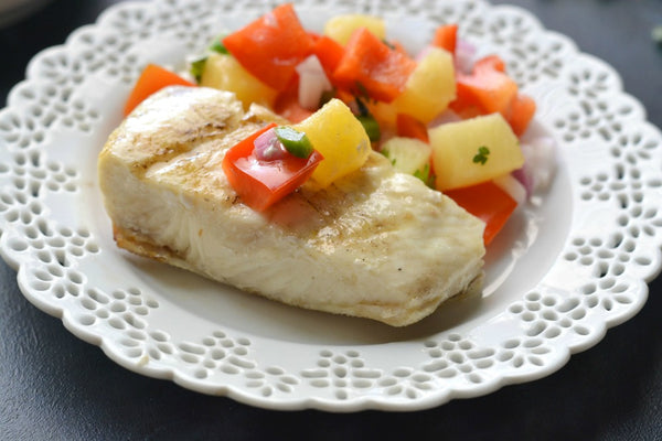 Grilled Halibut with Pineapple Relish