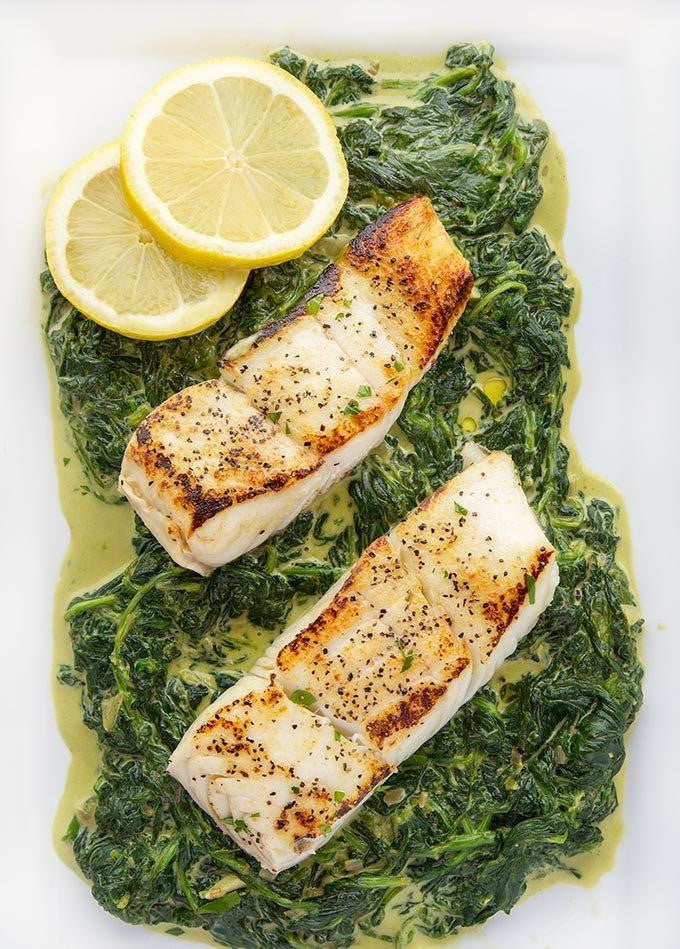 Pan Seared Halibut with Creamed Spinach
