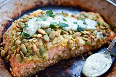 Pepita-crusted Salmon with Skillet Squash