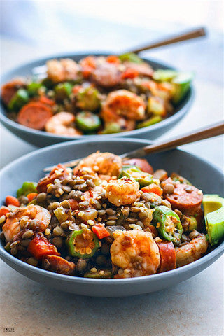 Lentil Shrimp Jambalya Bowl