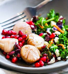 One Pan Maple Balsamic Glazed Scallops with Pomegranate