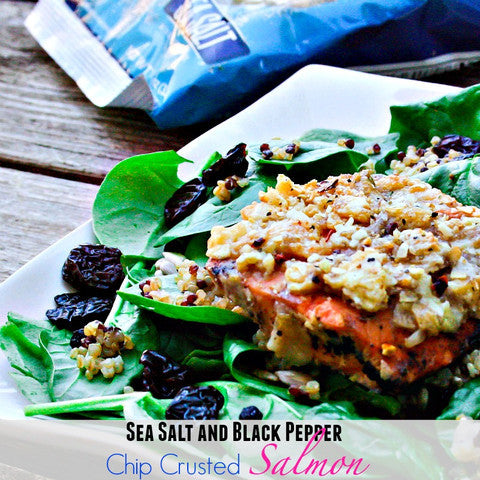 Sea Salt and Black Pepper Chip Crusted Salmon