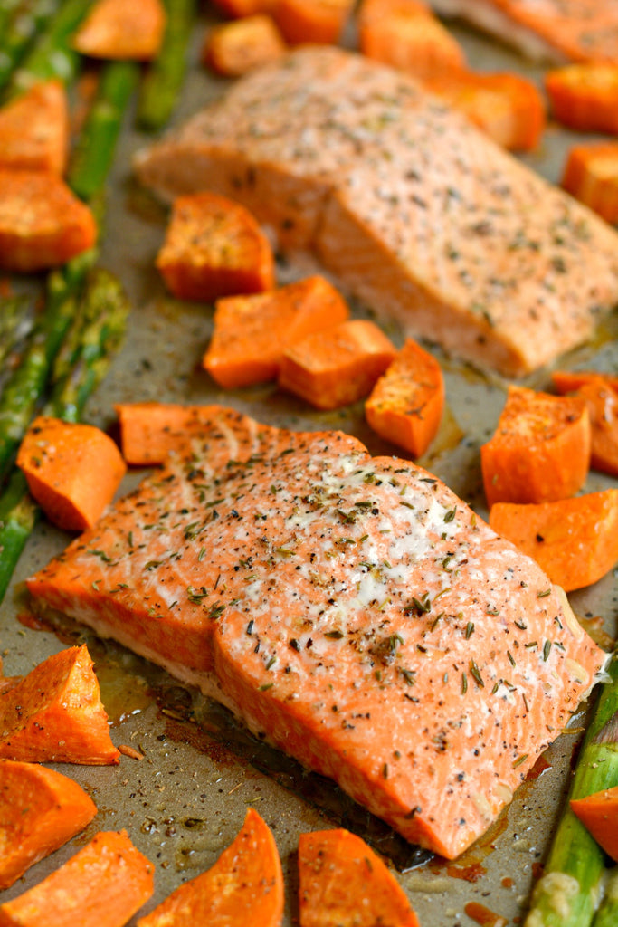 One Pan Baked Salmon Asparagus & Sweet Potato