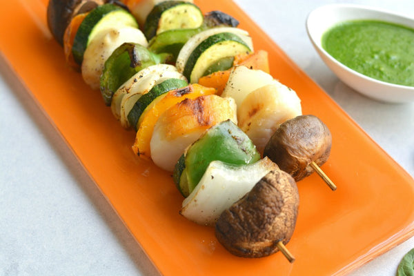 Grilled Sea Scallop Skewers with Spinach Macadamia Pesto