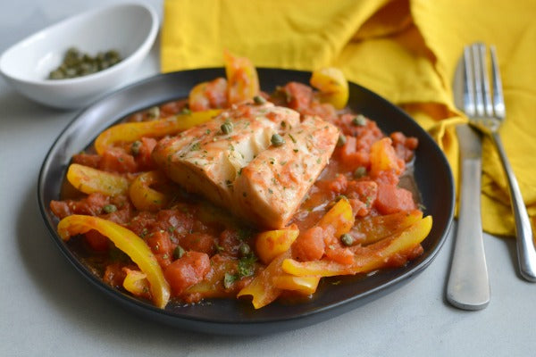 Whole30 Skillet Halibut with Peppers and Tomatoes