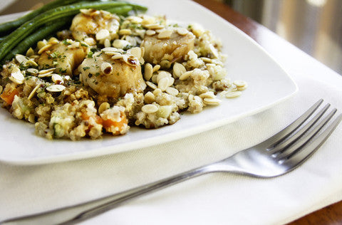Sweet Scallops with Fried Veggie Quinoa