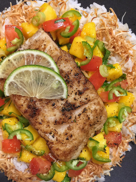 Pan Seared Sablefish with Mango Salsa and Toasted Coconut Rice