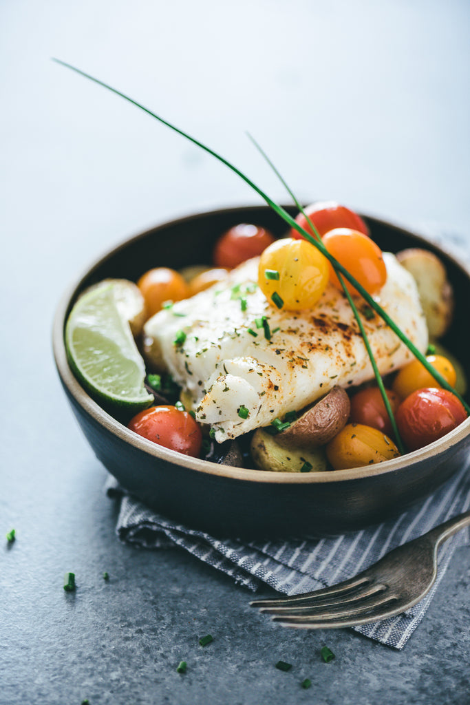 Pan Baked Cod with Veggies