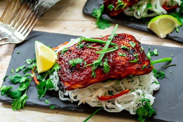 Asian BBQ Salmon Served