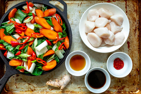 Asian Scallops and Vegetables Ingredients