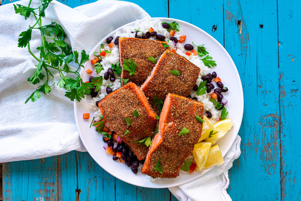 Blackened Salmon and Black Bean Rice