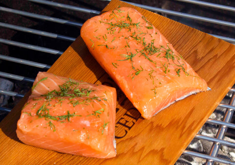 Salmon on a plank