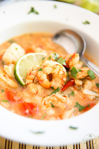 Coconut Lime Shrimp Cod Chowder