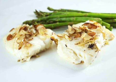 Almond cod with asparagus