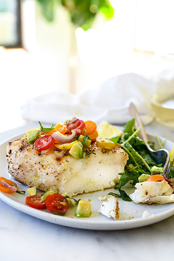 Grilled Halibut With toato